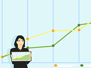 Woman showing line graphs