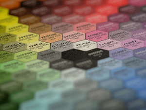 Hex colors and codes shown in hexagonal shapes